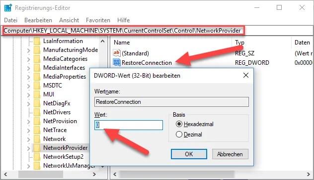 RestoreConnection - Es konnten nicht alle Netzlaufwerke wiederhergestellt werden