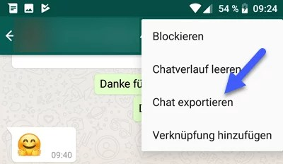 WhatsApp Chat per E-Mail Sichern Exportieren Android iPhone 1