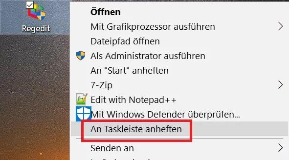 Registry Editor – Verknüpfung in der Taskleiste 8