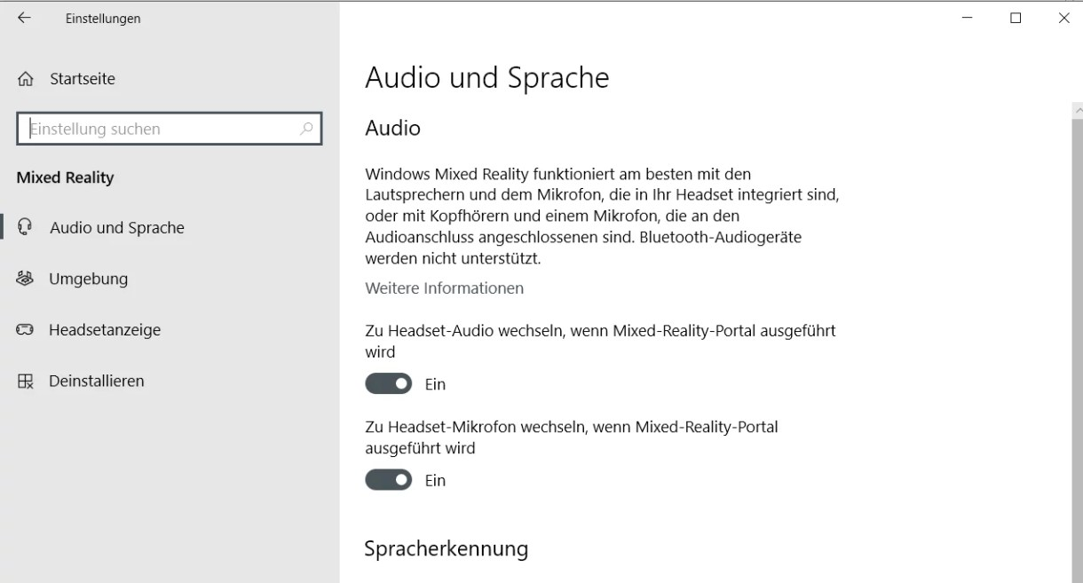 Windows 10 Mixed Reality ins Einstellungsfenster einfügen 1