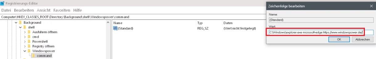 Windows 10 beliebige Webseite aus dem Desktop Kontextmenü starten 9