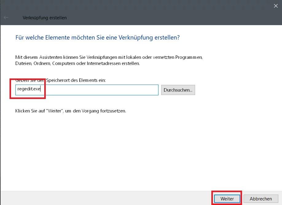 Registry Editor – Verknüpfung in der Taskleiste 1