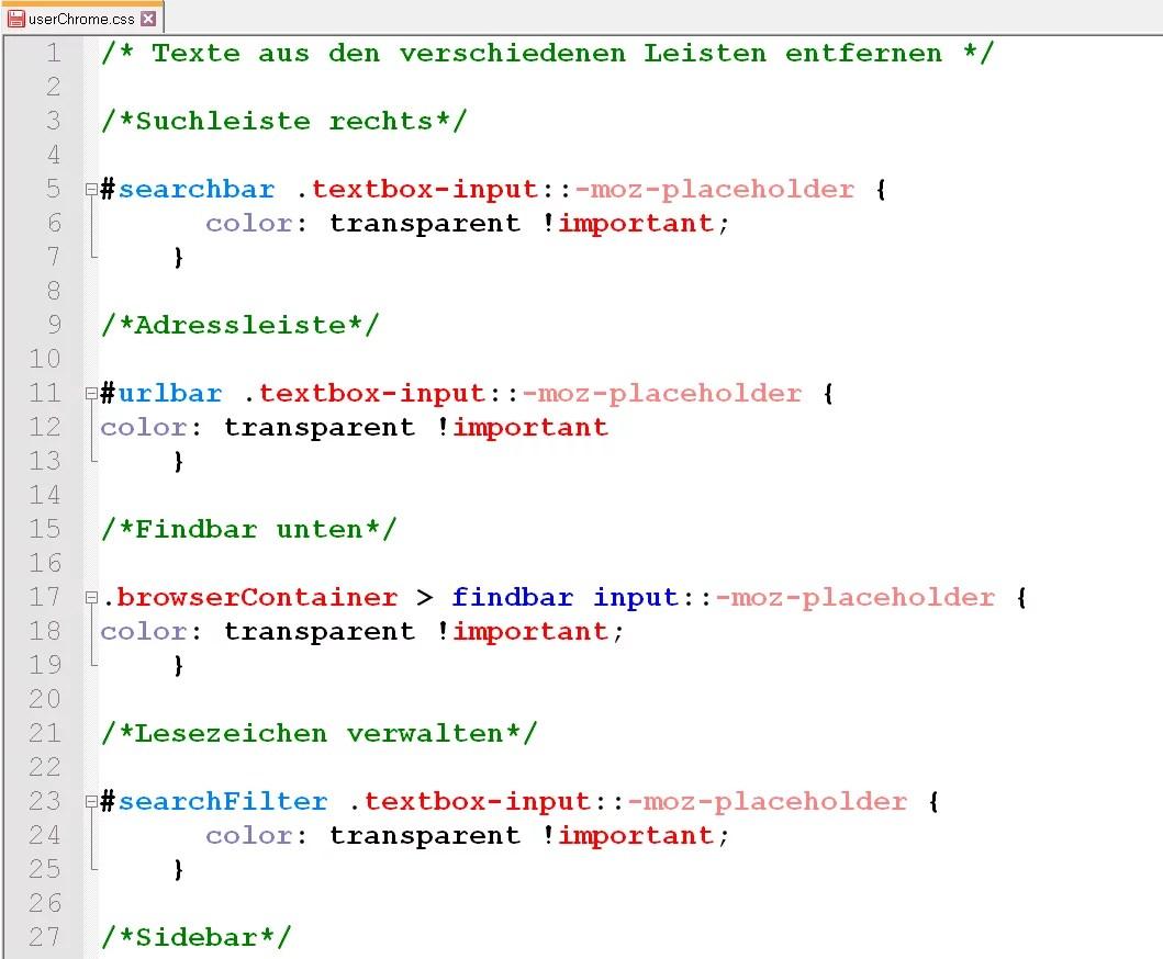 Firefox – Texte aus den verschiedenen Leisten entfernen 1
