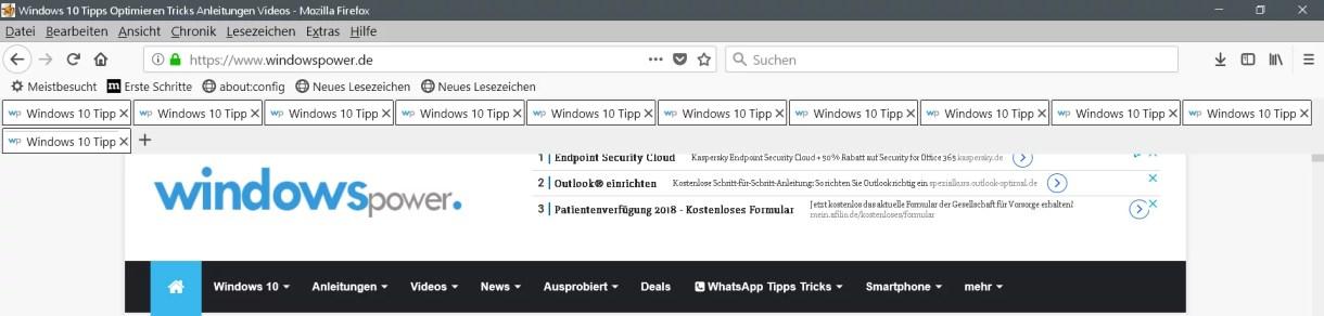 Mehrreihige Tableiste im Firefox 0