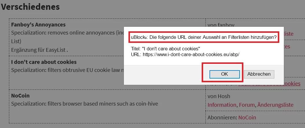Cookie-Hinweis auf Webseiten ausblenden im Firefox 2