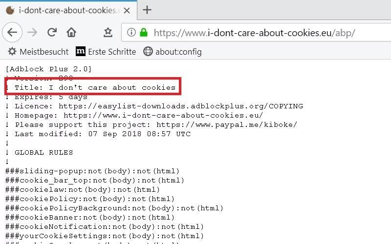Cookie-Hinweis auf Webseiten ausblenden im Firefox 7
