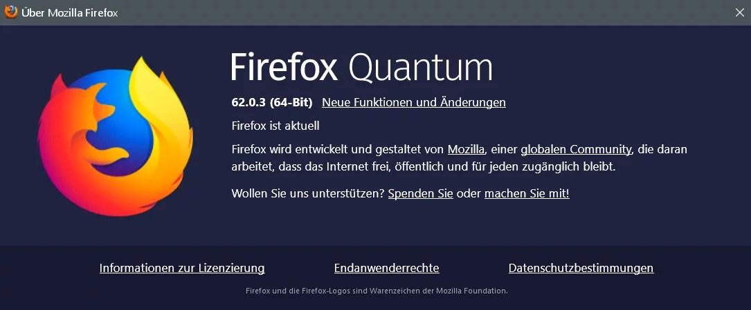 Firefox Version 62.0.3 ist erschienen 0