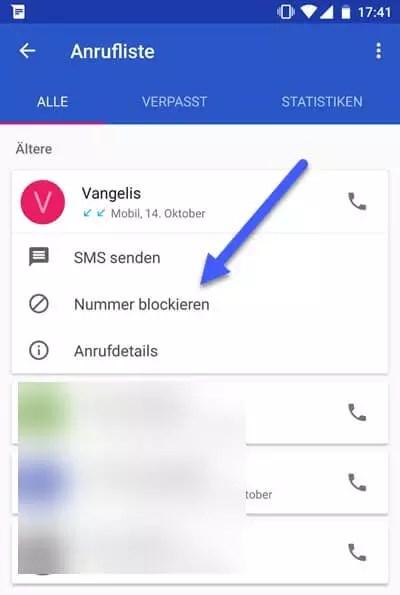Telefonnummer Blockieren