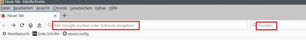Adress- und Suchleiste den Text entfernen im Firefox 1