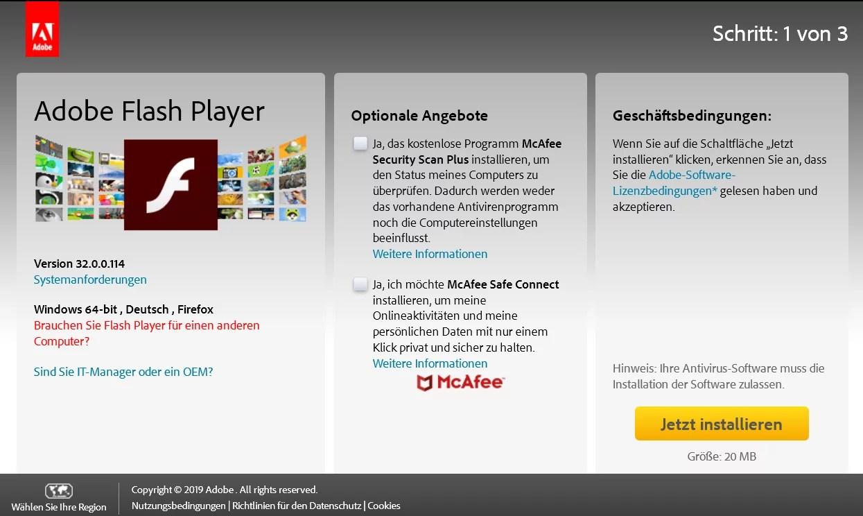 Adobe Flash Player die neue Version 32.0.0.114 ist erschienen