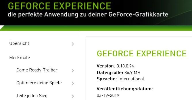 Nvidia GeForce Experience 3.18.0.94 – neue Version erschienen 0
