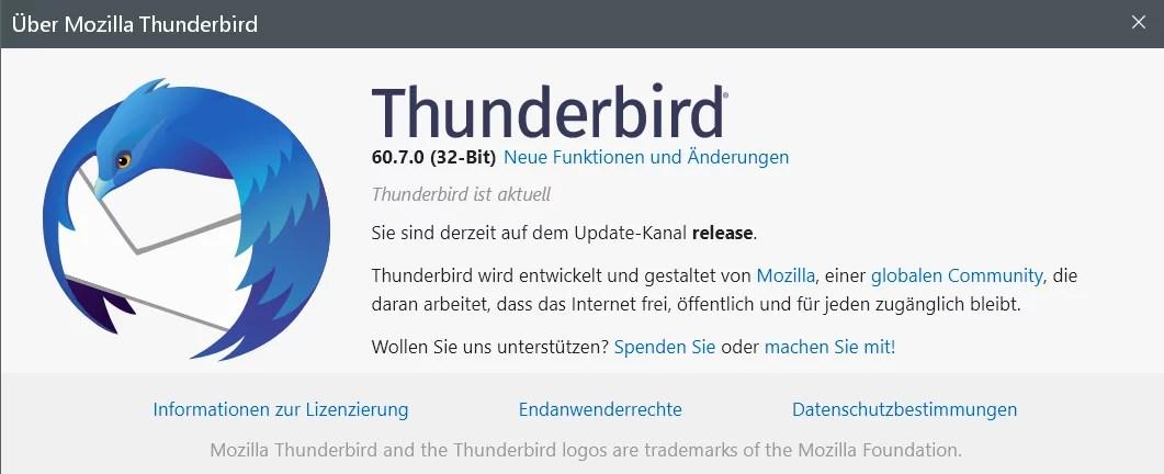 Thunderbird Version 60.7.0 ist erschienen 0