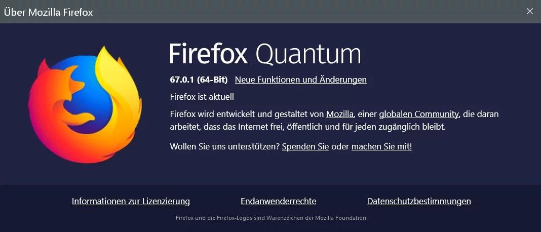 Firefox Version 67.0.1 ist erschienen und steht zum Download bereit 0