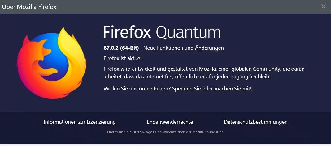 Firefox Version 67.0.2 ist erschienen und steht zum Download bereit 0