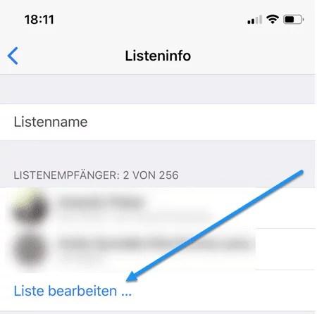 Listen bearbeiten iphone