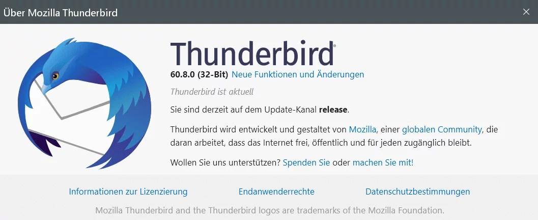 Thunderbird Version 60.8 ist erschienen 0