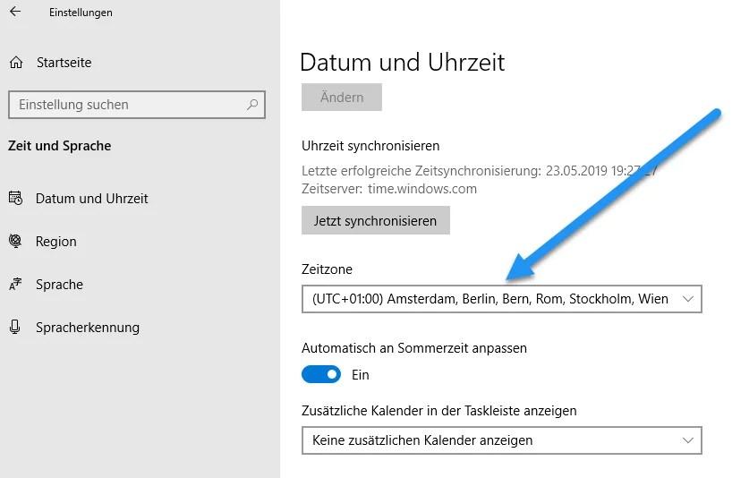 Zeitzone ändern bei Windows 10