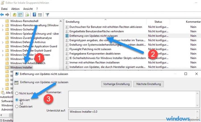 deinstallation windows updates