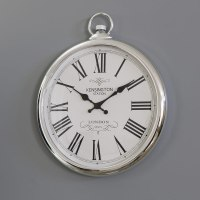 Large Round Silver Wall Clock :: Clocks :: Windsor Browne