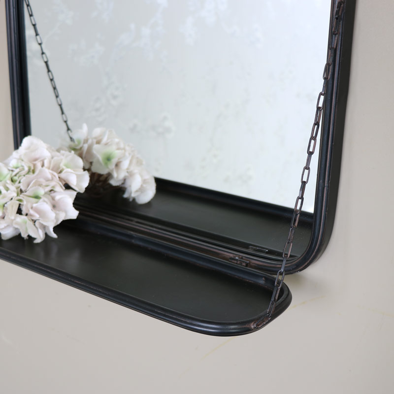 Black Metal Industrial Wall Mirror With Shelf Windsor Browne