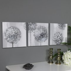 Paintings For Living Room Wall Storage Chest Triptych Art Grey Flower Canvas Print - Windsor Browne