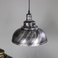 Stylish Industrial Silver/Black Dome Ceiling Pendant Light ...
