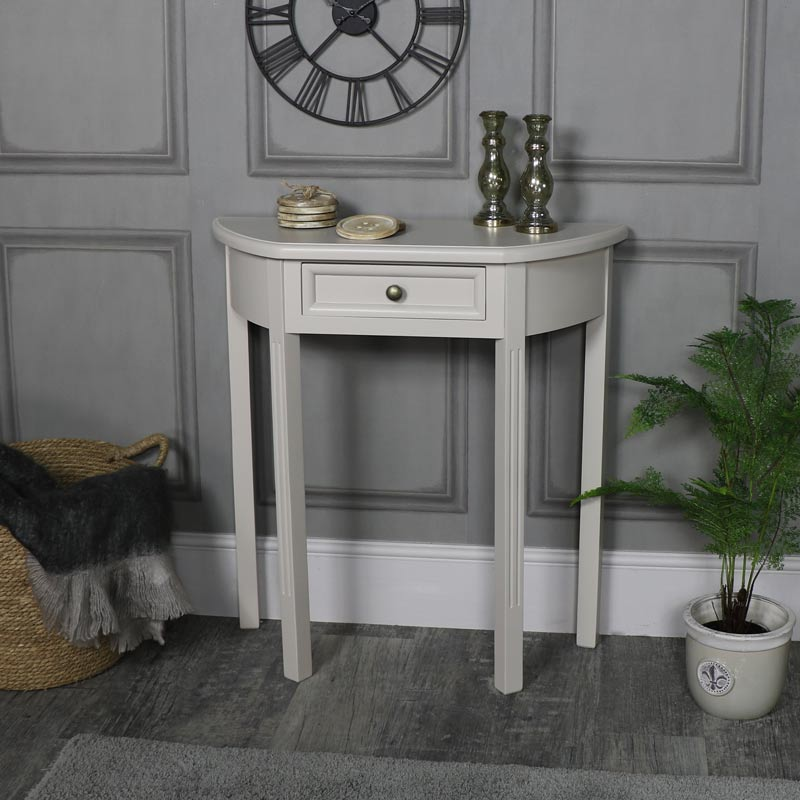 half moon tables living room furniture ceiling designs for in india console table with drawer storage daventry grey range windsor browne