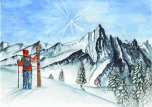 Ski vor Alpenpanorama