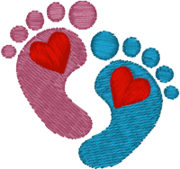 Heart Baby Feet Embroidery Design