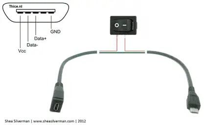 Un câble USB avec un bouton On/Off pour le Raspberry Pi