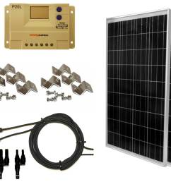200 watt 2 pcs 100 watt 12 24 volt solar panel kit with lcd p20l charge controller for rv s boats and off grid applications [ 1032 x 927 Pixel ]