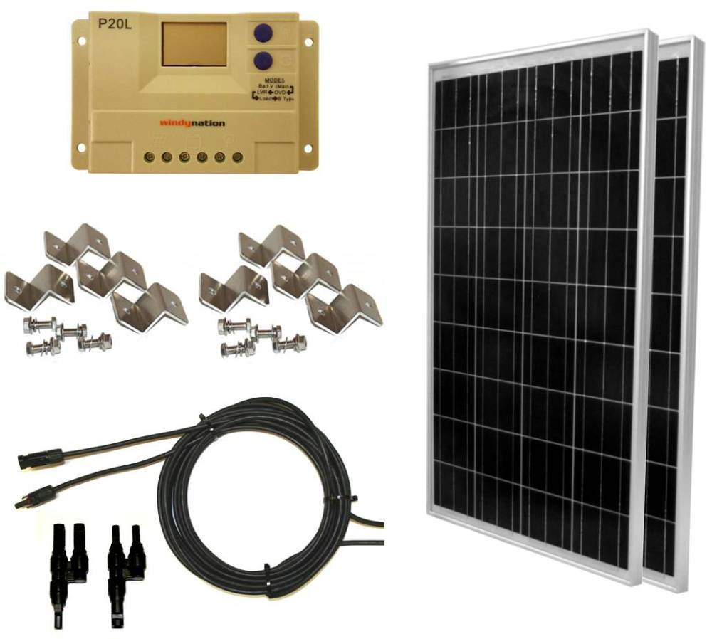 medium resolution of 200 watt 2 pcs 100 watt 12 24 volt solar panel kit with lcd p20l charge controller for rv s boats and off grid applications