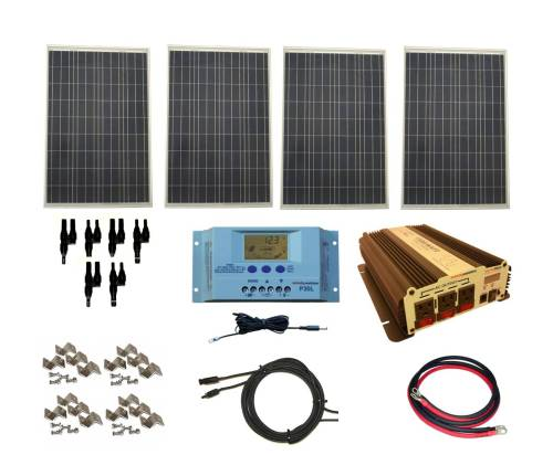small resolution of complete 400 watt solar panel kit with vertamax power inverter for 12 volt battery systems