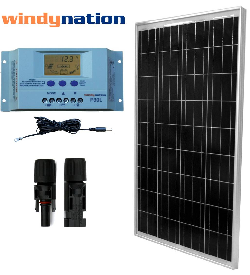 hight resolution of eco solar kit 100 watt 12 volt solar panel with user settable lcd charge controller rv boat off grid