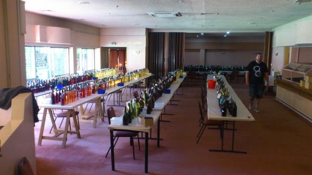 857 Bottles awaiting the Judges...