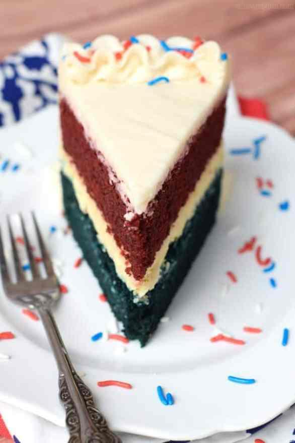 Red, White, and Blue Cheesecake Cake {Wine & Glue}