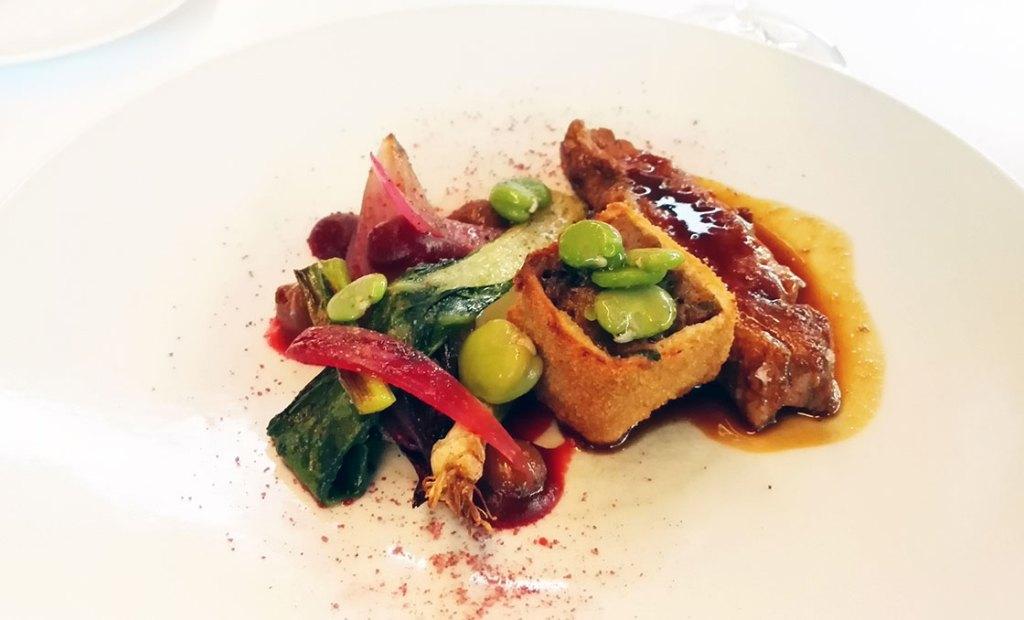 Main dish of duck breast, shallot, broad beans and duck leg croquette @ Restaurant L'Envie, Zwevegem, Belgium.