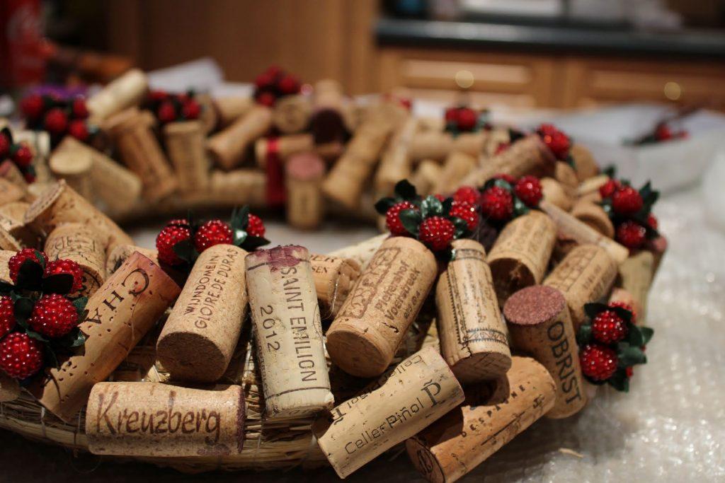 Wine cork Christmas wreath close up