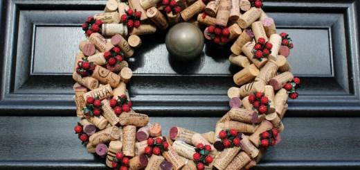 Wine cork Christmas wreath hanging on door
