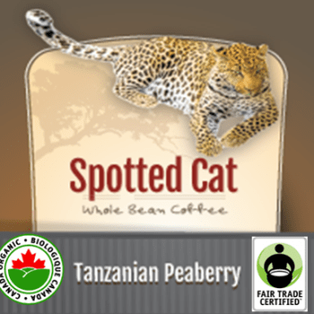 Fair Trade Tanzanian Peaberry Organic Spotted Cat   12oz