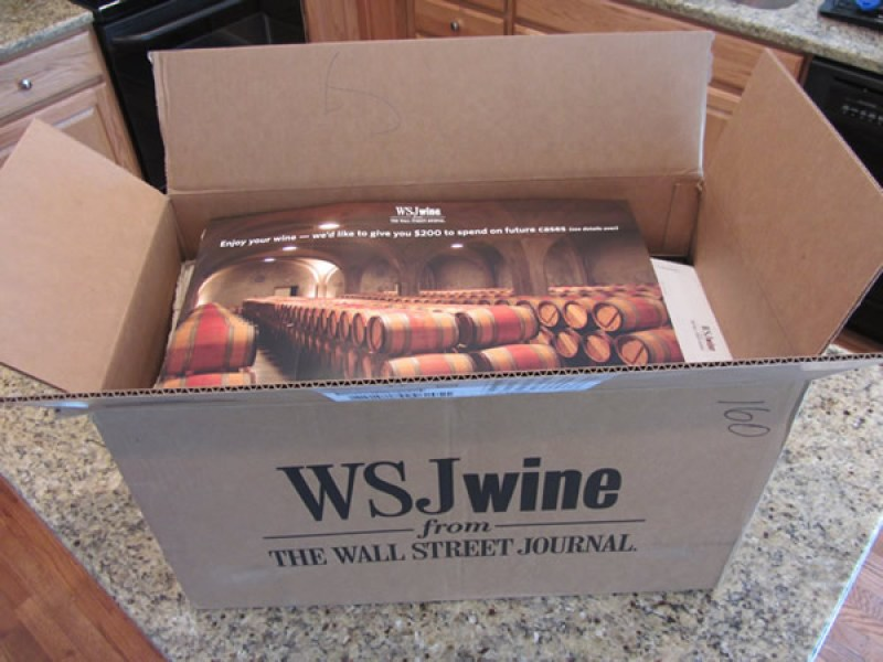 Here's the open box from the Wall Street Journal Wine Club