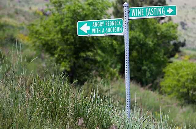Funny wine tasting signage