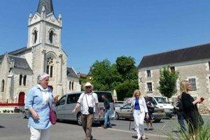 Walking in a village