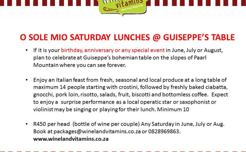 O Sole Mio Saturday Lunches @ Guiseppe's Table