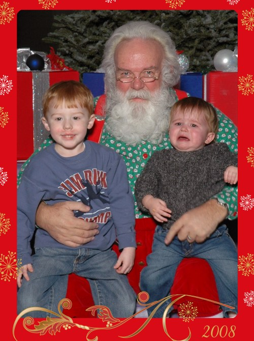 Gavin and Cooper with Santa 2008