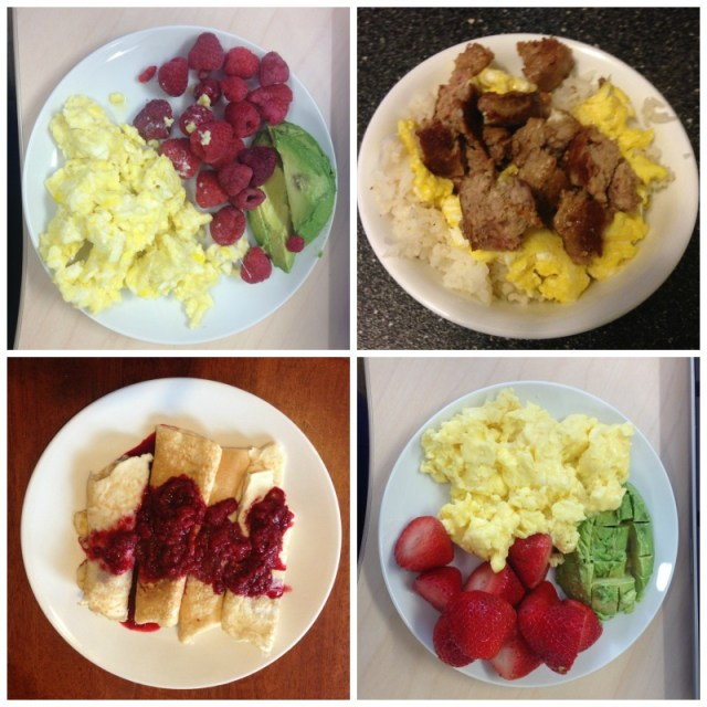 wiaw breakfasts eggs raspberries avocados rice sausage crepes strawberries