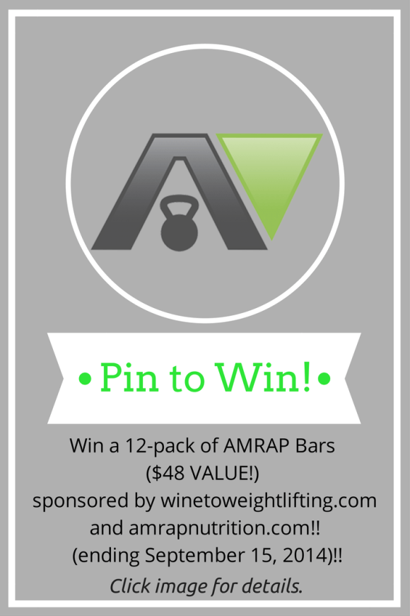 Enter to win a 12-pack of AMRAP Bars from @amrapusa and @winetoweights. Ends September 15, 2014.
