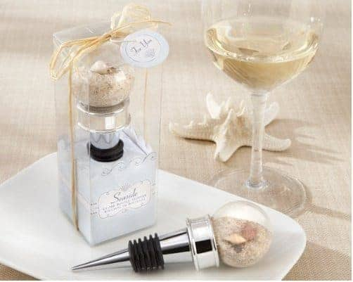 Kate Aspen Seaside Sand and Shell Filled Globe Wine Stopper