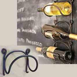 Rack and Hook Wrought Iron Modular Wine Bottle Rack Wall Mounted