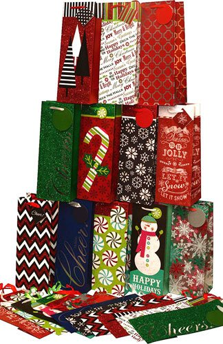 Assorted Christmas Kraft paper wine bags